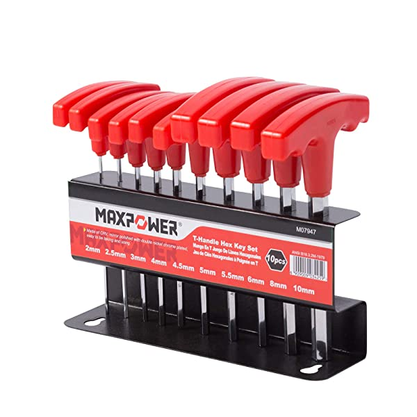 MAXPOWER 10pc T-Handle Hex Key Set - Metric - Size Stamped, Hexagonal Socket, T-Shaped, Allen Keys with Compact Stand (Color: T-handle Metric, Tamaño: T-handle Metric)