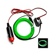 Flexible Neon Light EL Wire Rope Tube car 12V Car decorative Led thread sticker indoor decals tags Holiday accessory (1PCS) by DIEBELLEU ( Color : Green ) (Color: Green)