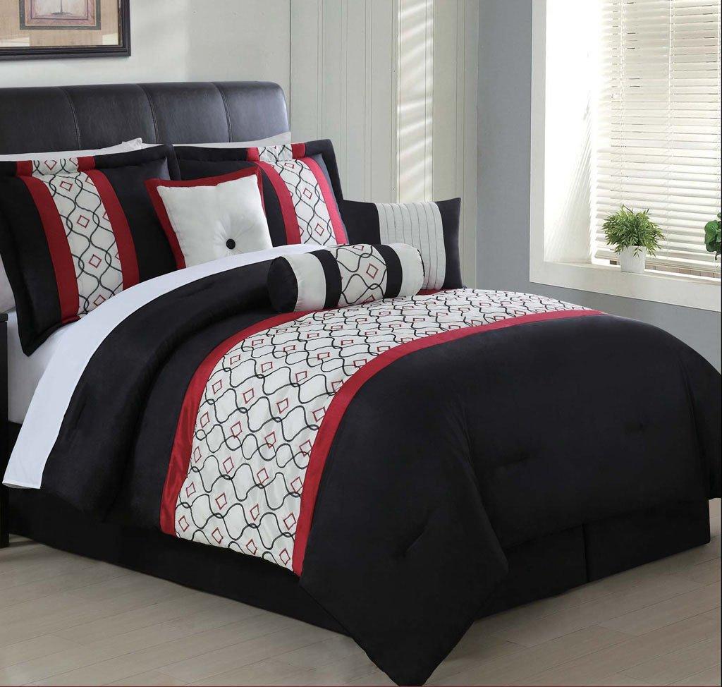 7 Piece Queen Halston Embroidered Comforter Set