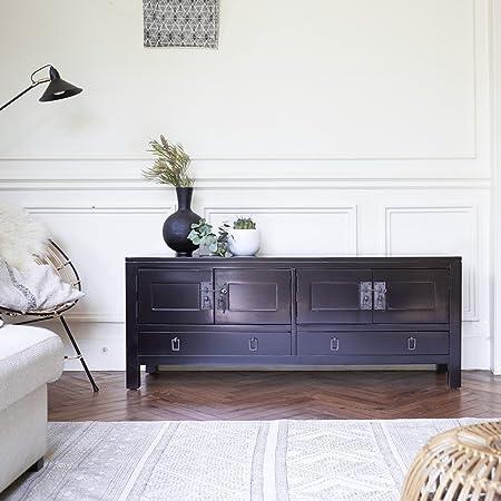 mueble TV madera caoba mahagoni televisor mesa salón 140 cm maciza consola