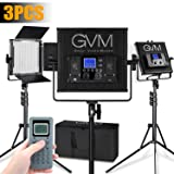 GVM LED Video Lighting kit Panel CRI97+ TLCI97+ 18500lux Bi-Color 3200K-5600K Photography Lighting 520LED 3 Lights Kit with LCD Display for Studio Outdoor Interview Video Making (Color: 520s-b-3pack)