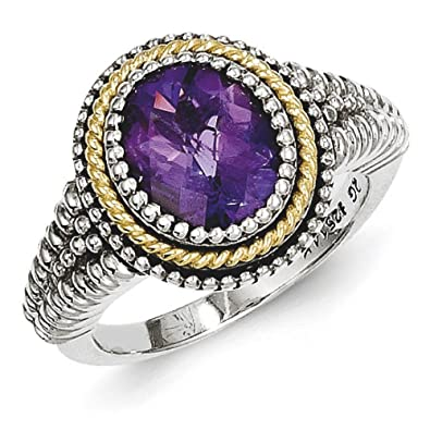 Sterling Silver With 14ct Amethyst Ring - Ring Size Options Range: L to P