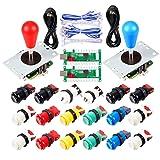 EG STARTS 2 Player Arcade Joystick DIY Parts 2X USB Encoder + 2X Ellipse Oval Joystick Hanlde + 18x American Style Arcade Buttons for PC, MAME, Raspberry Pi, Windows System (Mix Color Kit) (Color: Mix Color Kit)