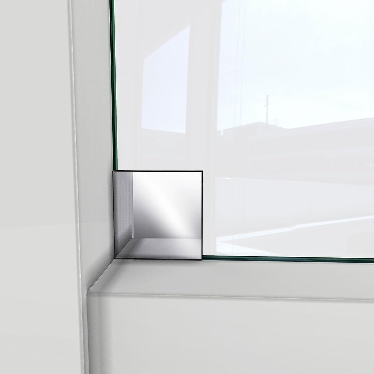 """DreamLine Enigma-X 56-60 in. Width, Frameless Sliding Shower Door, 3/8"""" Glass, Brushed Stainless Steel"""