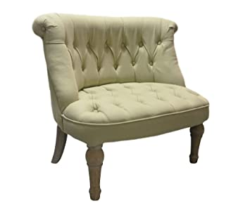 Traditional Vintage Style Cosy Beige Fabric Chair with Wooden Legs
