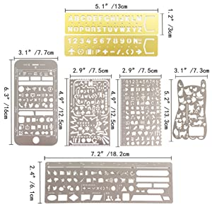 Petift Hollow Stainless Steel Journal Stencils and Fineliner Color Pen Set,Drawing Painting Templates Ruler Stencil Tool for Art Craft/DIY Album/Diary for Kids Student,Reader and Writer (Color: Stainless Steel)