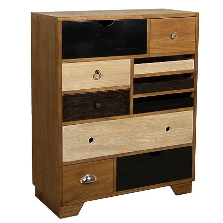PAME 40722 - Cómoda con cajones colores, madera de nogal