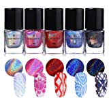 BORN PRETTY Nail Art Holographic Stamping Polish New Style Laser Manicure Plate Printing Normal Nail Lacquer Varnish 5 Colors (Color: bundle 1)