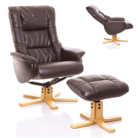 The Shanghai - Bonded Leather Recliner Swivel Chair & Matching Footstool in Chocolate