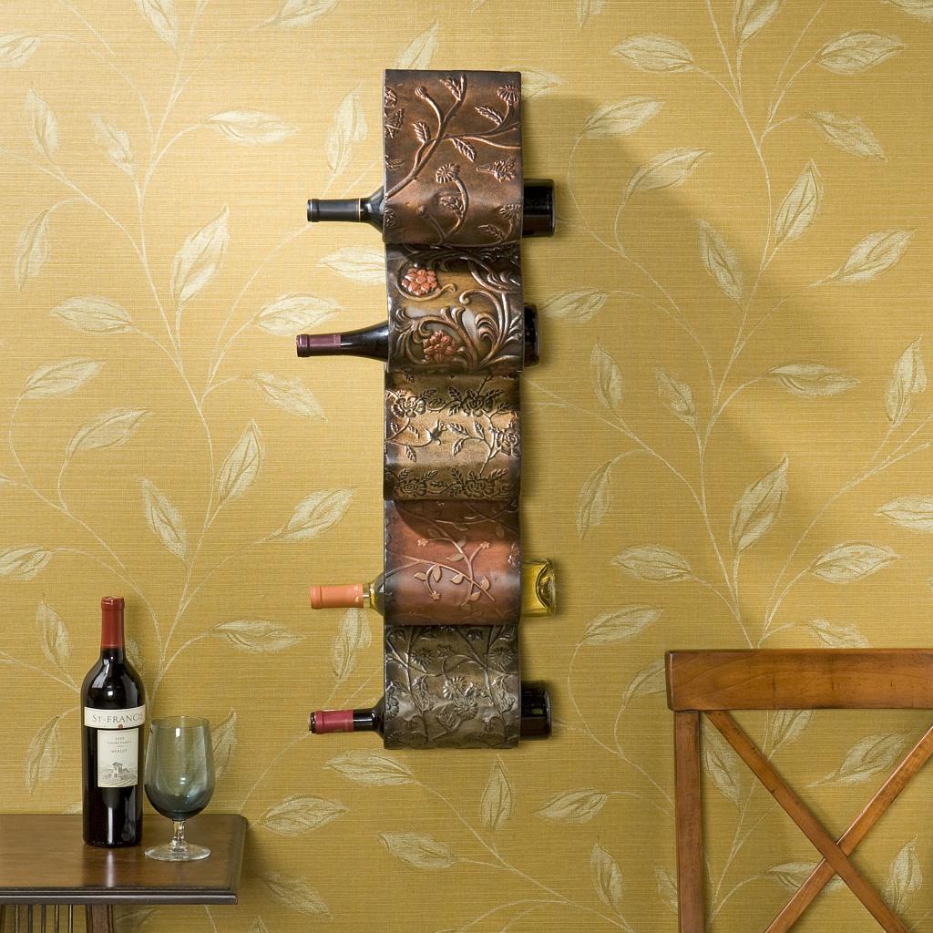 Florenz wall mount wine rack sculpture for Wall decor wine bottles