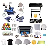 INTBUYING 5In1 Heat Press Transfer, Multifunction Digital Heat Press Machine 24'' 500g Cutting Plotter Sublimation Heat Press for T-Shirts Mug Plate Tape Paper Hat (Color: Black)