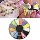 DDLBiz 12 Colors Nail Art Decorations DIY Wheel Beads Pearls Caviar Nail Decals (Color: One Color, Tamaño: one size)