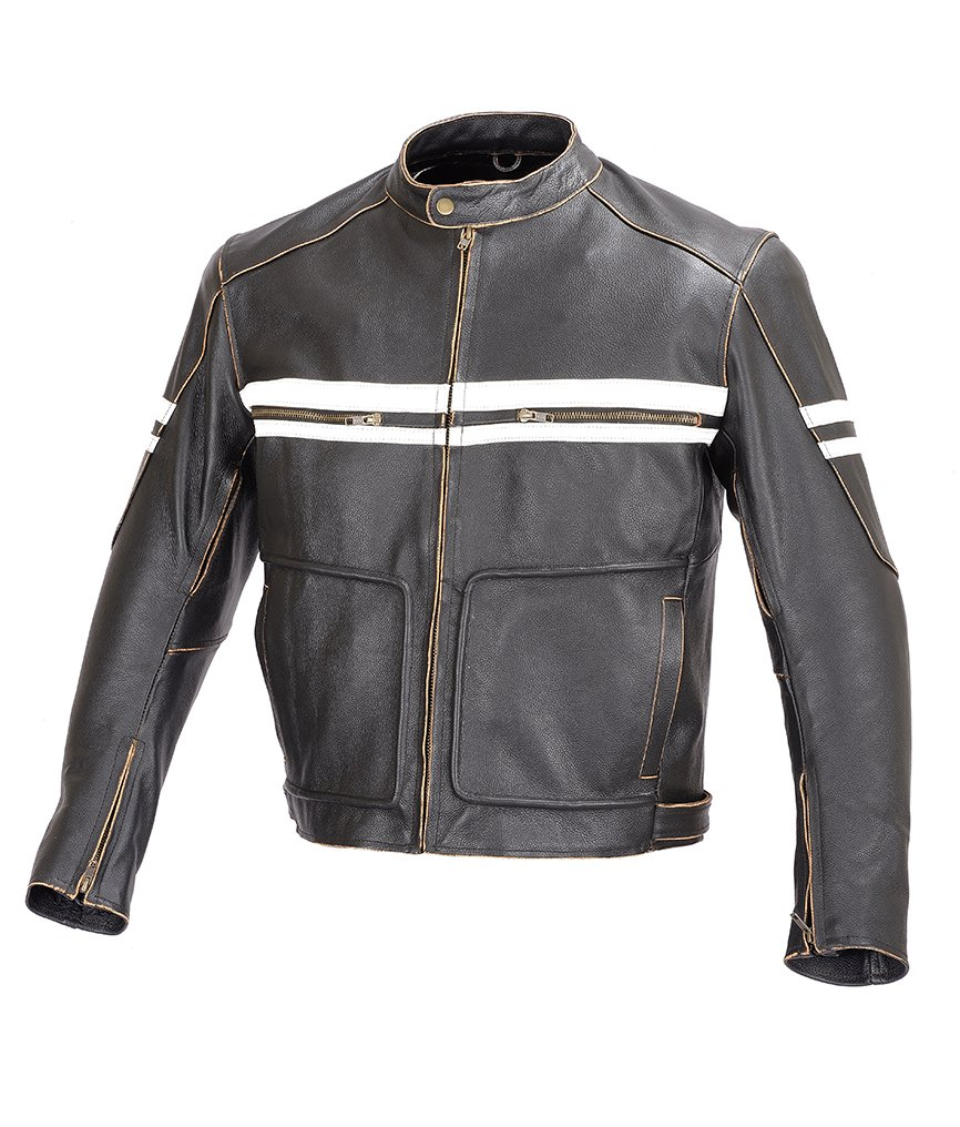 Men Motorcycle Vintage Hand Buffed Leather Armor Jacket Black MBJ031 (L) 0