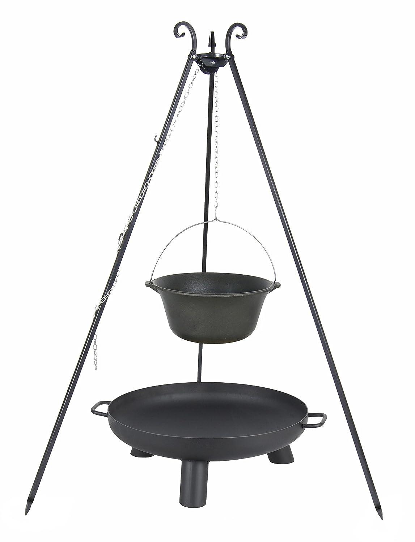Kingdiscount® Gulaschkessel-Set mit Kessel aus Gusseisen 7.2 L, Feuerschale 60 cm und Dreibein 180 cm günstig online kaufen