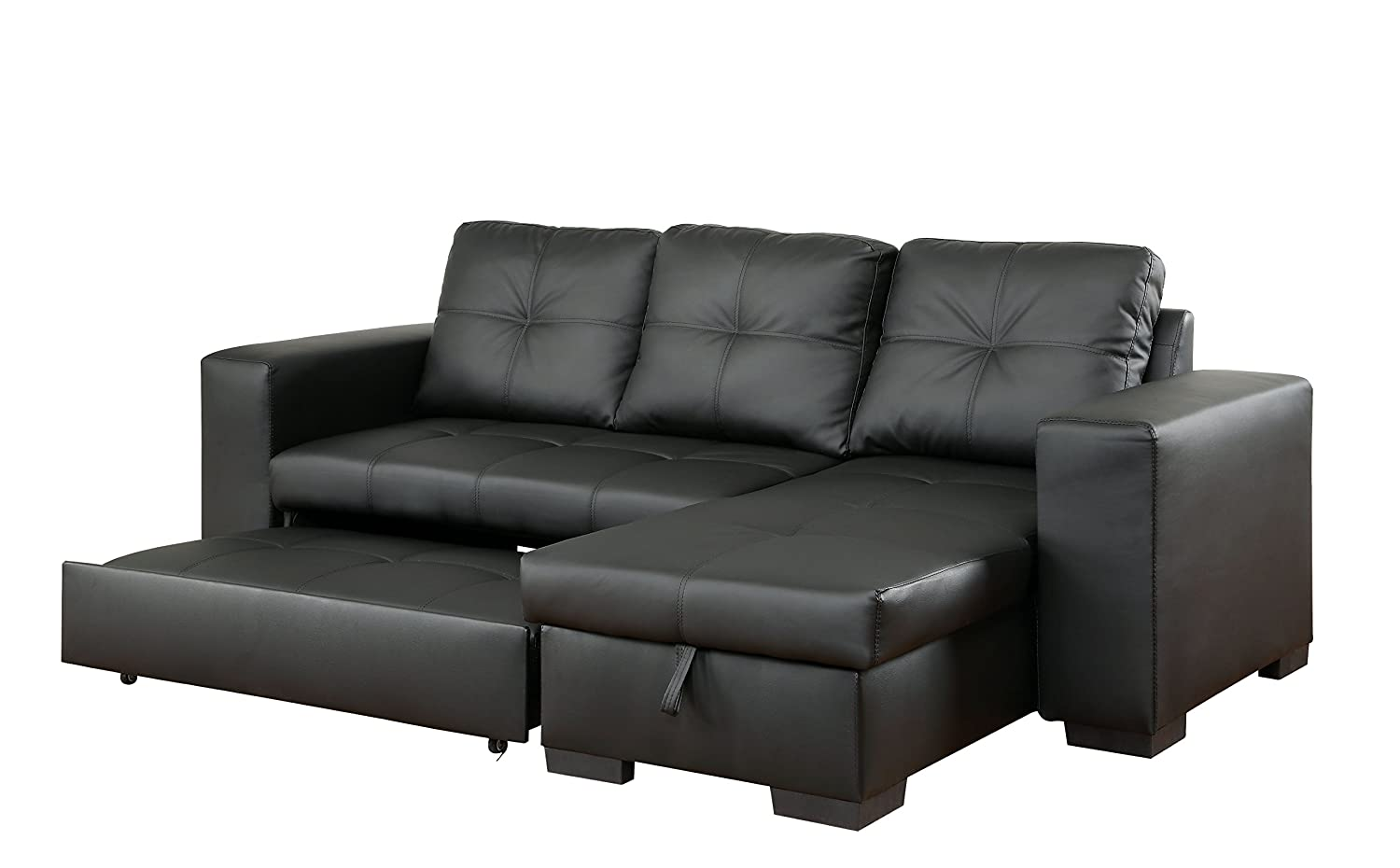 Furniture of America Charlton Contemporary Corner Sectional with Pull-Out Sleeper - Black