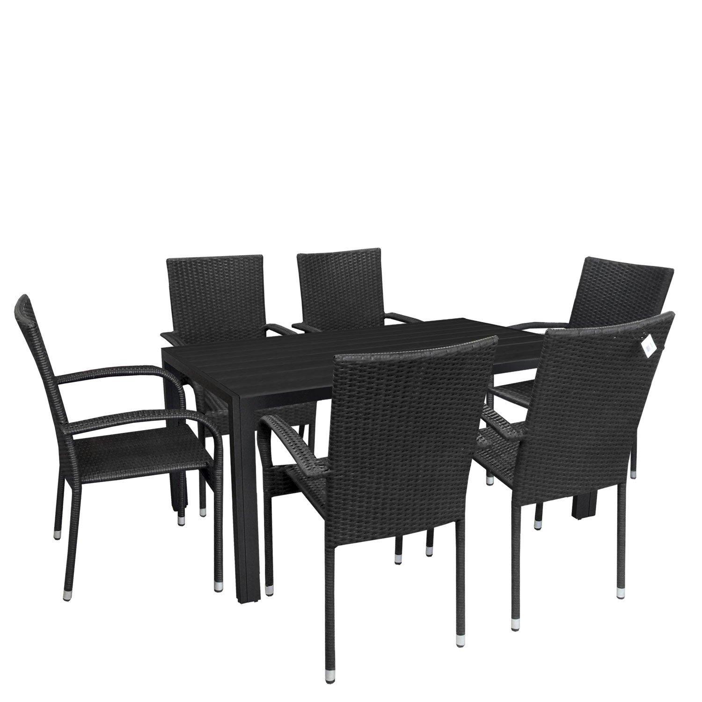 7tlg. Gartengarnitur Sitzgruppe Aluminium Gartentisch Tischplatte Polywood 150x90cm stapelbare Rattansessel Stapelstuhl Polyrattan Gartenstuhl stapelbar Terrassenmöbel Sitzgarnitur jetzt bestellen