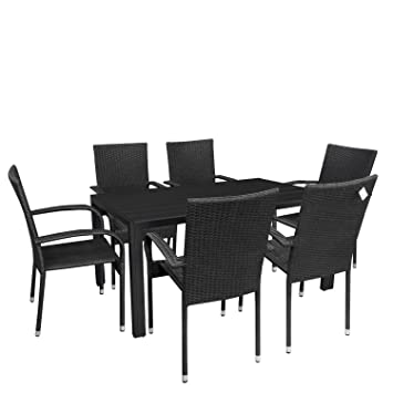 7tlg. Gartengarnitur Sitzgruppe Aluminium Gartentisch Tischplatte Polywood 150x90cm stapelbare Rattansessel Stapelstuhl Polyrattan Gartenstuhl stapelbar Terrassenmöbel Sitzgarnitur