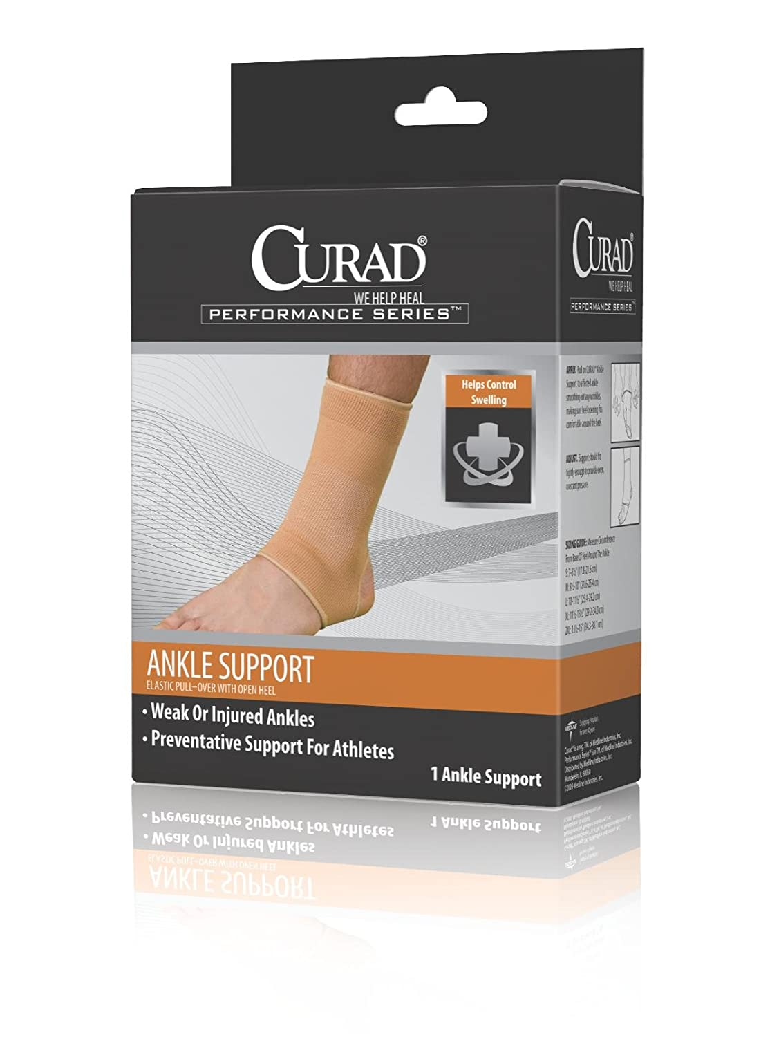 Medline CURAD Elastic Open Heel Ankle Supports, Retail Medium (2 Case) mld lf 1127 ankle supports
