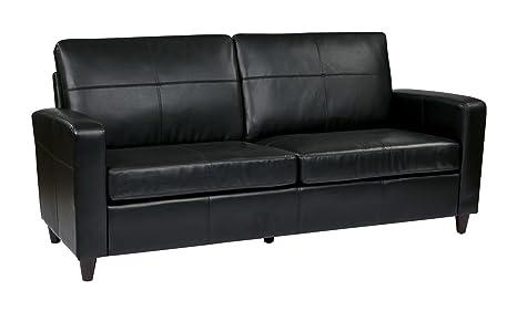 Black Eco Leather Sofa With Espresso Finish Legs Black
