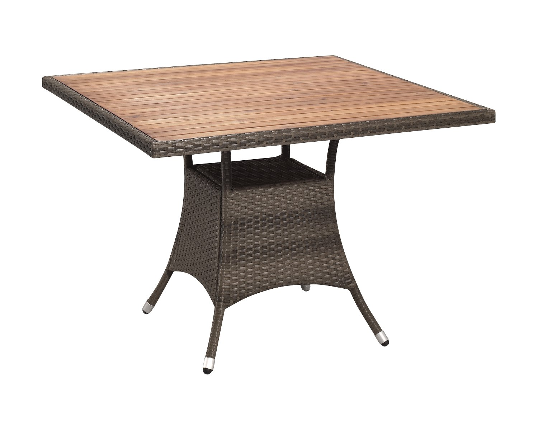 Gartenfreude Tisch Polyrattan, Aluminiumgestell mit Akazienholz, Cappuccino, 100 x 100 x 75 cm (LxBxH) günstig bestellen