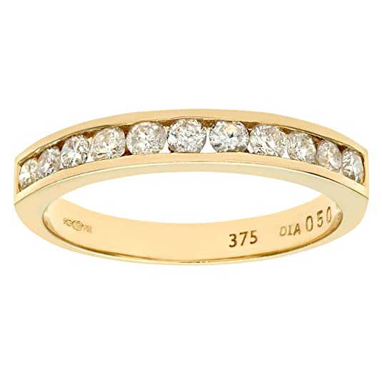 Naava 9ct Yellow Gold Diamond Channel Set Eternity Ring