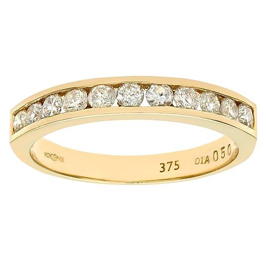 Naava 9ct Yellow Gold Diamond Channel Set Eternity Ring