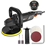 """Polisher, Tacklife 7""""/9"""" 12.5Amp 1500W Variable Speed Buffer/Waxer with Digital Screen & LED Indication, Soft Start, 10Ft Power Cord, Detachable Handles, Sanding & Wool Disc, Ideal for Car Polishing (Color: Black, Tamaño: 7"""