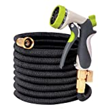 50ft Garden Hose, TOONOON All New Expandable Water Hose Set with Double Latex Core,3/4 Solid Brass Fittings, Extra Strength Fabric, Flexible Expanding Hose with 8 Function Spray Nozzles, Free Carrying (Color: Black, Tamaño: 50FT)