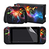 eXtremeRate Camouflage Galaxy Print Decals Stickers Full Set Faceplate Skin +2Pcs Screen Protector for Nintendo Switch/NS Console & Joy-con Controller & Dock Protection Kit (Color: Camouflage Galaxy)