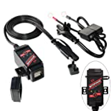 MOTOPOWER MP0608 3.1Amp Motorcycle Dual USB Charger SAE to USB Adapter Battery Monitor with Switch Control and LED Indicator Prevent Battery Over-Discharge (Color: 1) Dual USB Charger & Battery Monitor)
