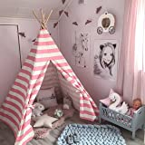 Teepee Tent for Girls, Princess Canvas Childrens Play Tent for Indoor Decor with Carry Case , Pink & White Stripe, by Tiny Land