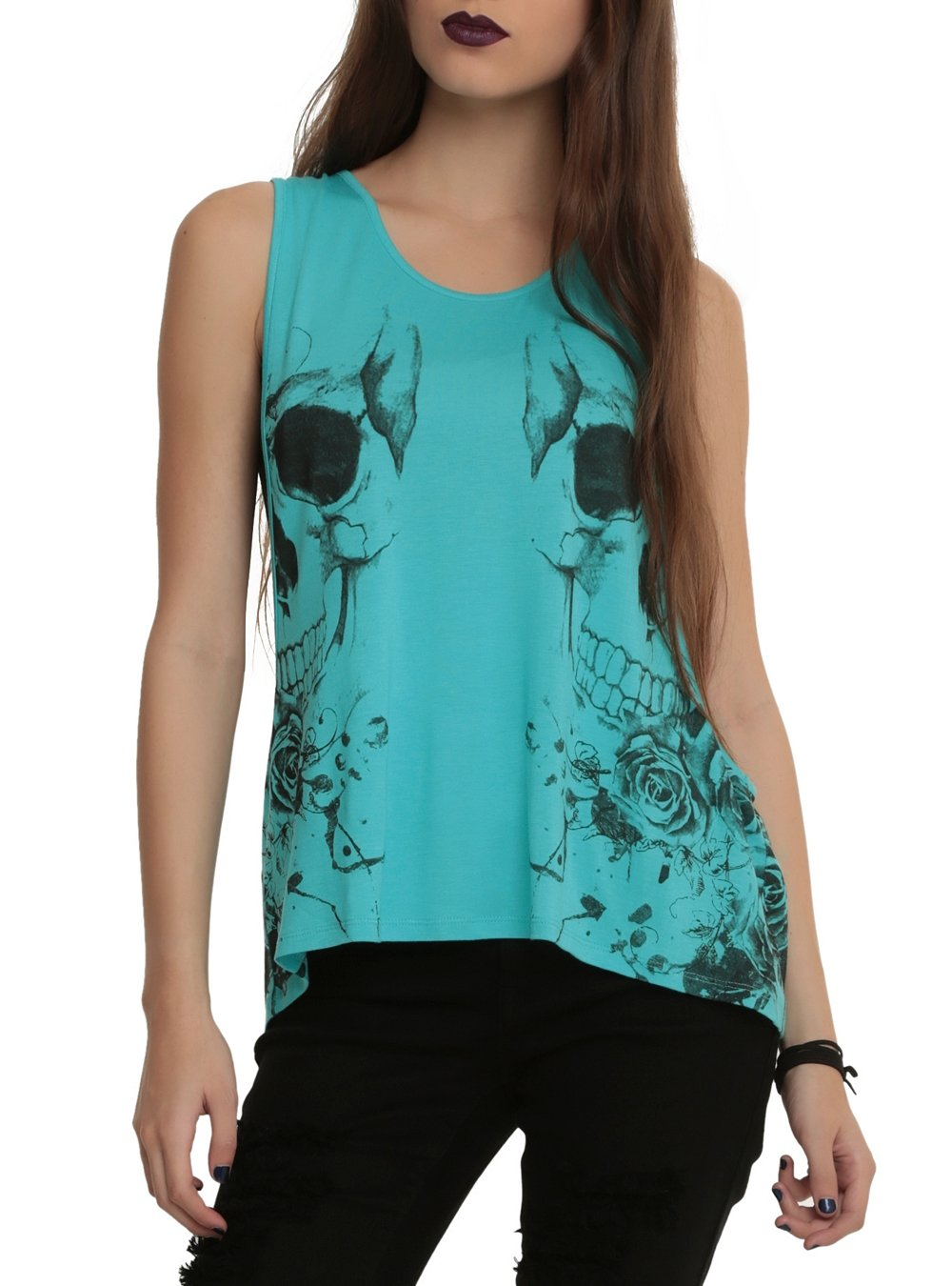 Turquoise Mirror Skull Girls Tank Top