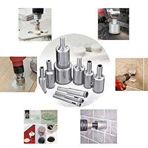 Diamond Drill Bit Set, Drillpro 10 PCS Glass Hole Saw for Tiles Glass Ceramic Marble Bottles DIY,6mm -- 30mm