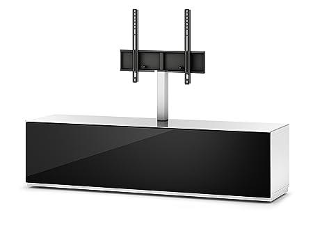 Sonorous STD 161F-WHT-BLK-BW Studio TV-Lowboard fur 177,8 cm (70 Zoll) Fernseher weiß/schwarz