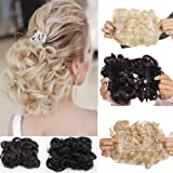 Short Messy Curly Dish Hair Bun Extension Easy Stretch hair Combs Clip in Ponytail Extension Scrunchie Chignon Tray Ponytail Hairpieces for women- dark brown