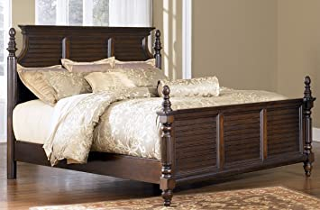 5/0 Queen Panel Bed by Ashley - Dark Brown Finish (B668-57R)