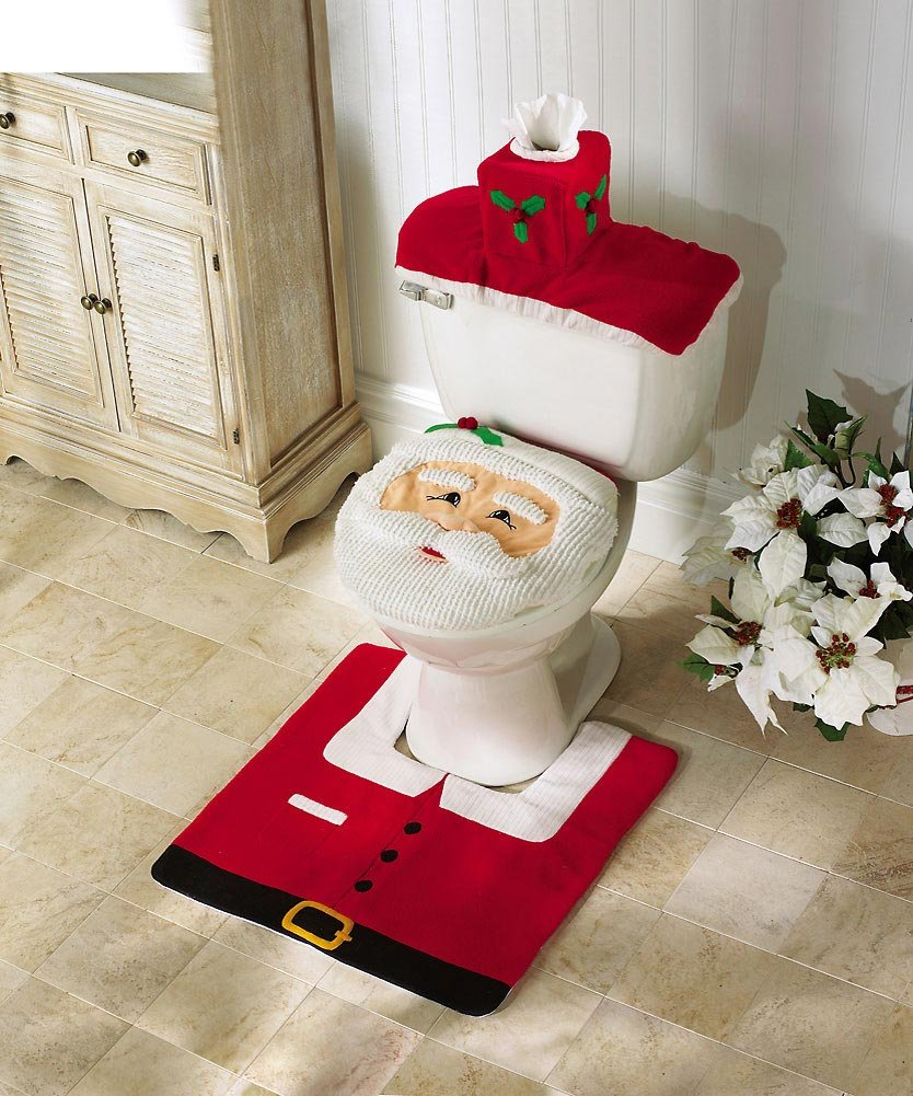 Santa Toilet Seat Cover And Rug Set
