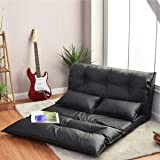 Giantex Floor Sofa PU Leather Leisure Bed Video Gaming Sofa with Two Pillows, Black (Color: Black)