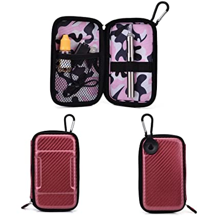 Travel Vape Case compatible with Vapor Smoking Electronic Hookah Pen |SLIM MAROON & PINK CAMO EVA SEMI-HARD SHELL| + Carabiner Hook for Easy Attachment