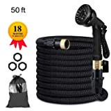 Candywe 50FT Expandable Garden Hose, Flexible Expanding Water Hose with 8 Function Spray Nozzle, Double Latex Core,3/4 Solid Brass Fittings,Storage Bag for Watering Plants, Car, Pet and Cleaning (Color: Black, Tamaño: 50 feet)