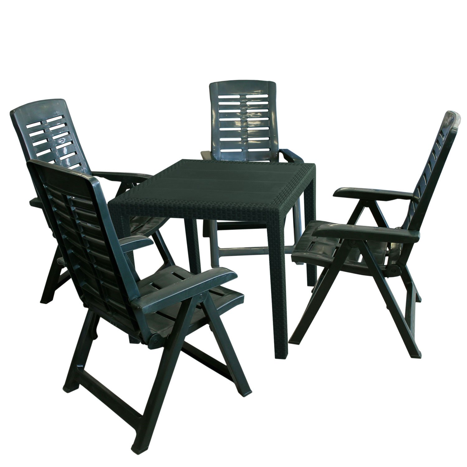 5tlg gartengarnitur gartenm bel set gartentisch 79x79xh72cm 4x gartenstuhl 5 positionen. Black Bedroom Furniture Sets. Home Design Ideas
