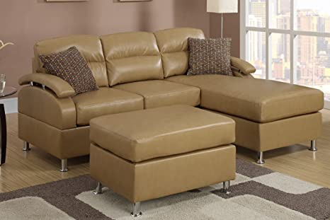 Poundex F7687 Beige Bonded Leather Sectional Sofa