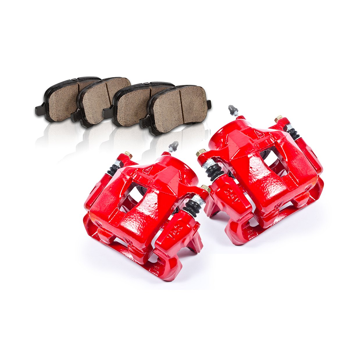 Callahan [ 2 ] FRONT Performance Grade Semi-Loaded Red Caliper Set + Ceramic Brake Pads callahan [ 2 ] front performance grade semi loaded red caliper set ceramic brake pads