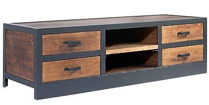 Indhouse Plat Meuble TV LOFT avec style industriel en métal et bois Cove