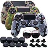 9CDeer 3 Pieces of Silicone Water Transfer Protective Sleeve Case Cover Skin + 8 Thumb Grips Analog Caps + 3 sets of dust proof plug for PS4/Slim/Pro Controller, Camouflage Brown Grey Green (Color: Camouflage Brown Grey Green, Tamaño: water print pack)