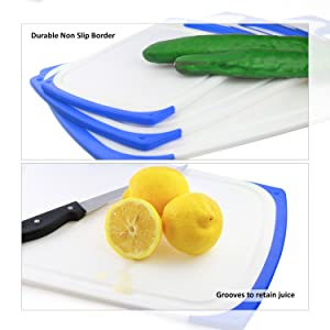 Plastic Cutting Boards Set of 3, Dishwasher Safe Reversible Cutting Boards with Non-Slip Feet & Deep Drip Juice Groove for Chopping Foods, BPA Free, FDA Approved Materials & Eco Friendly (Blue) (Color: Blue)