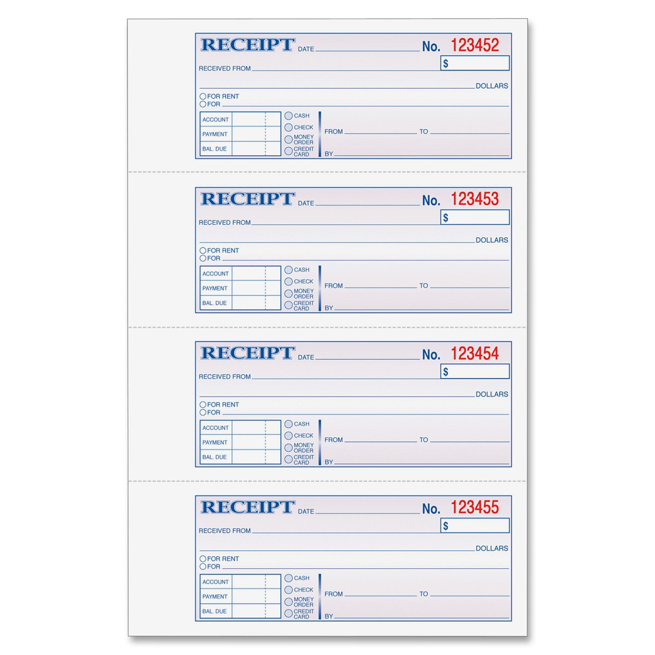 Adams Money and Rent Receipt Book 3Part Carbonless White – Rent Receipt