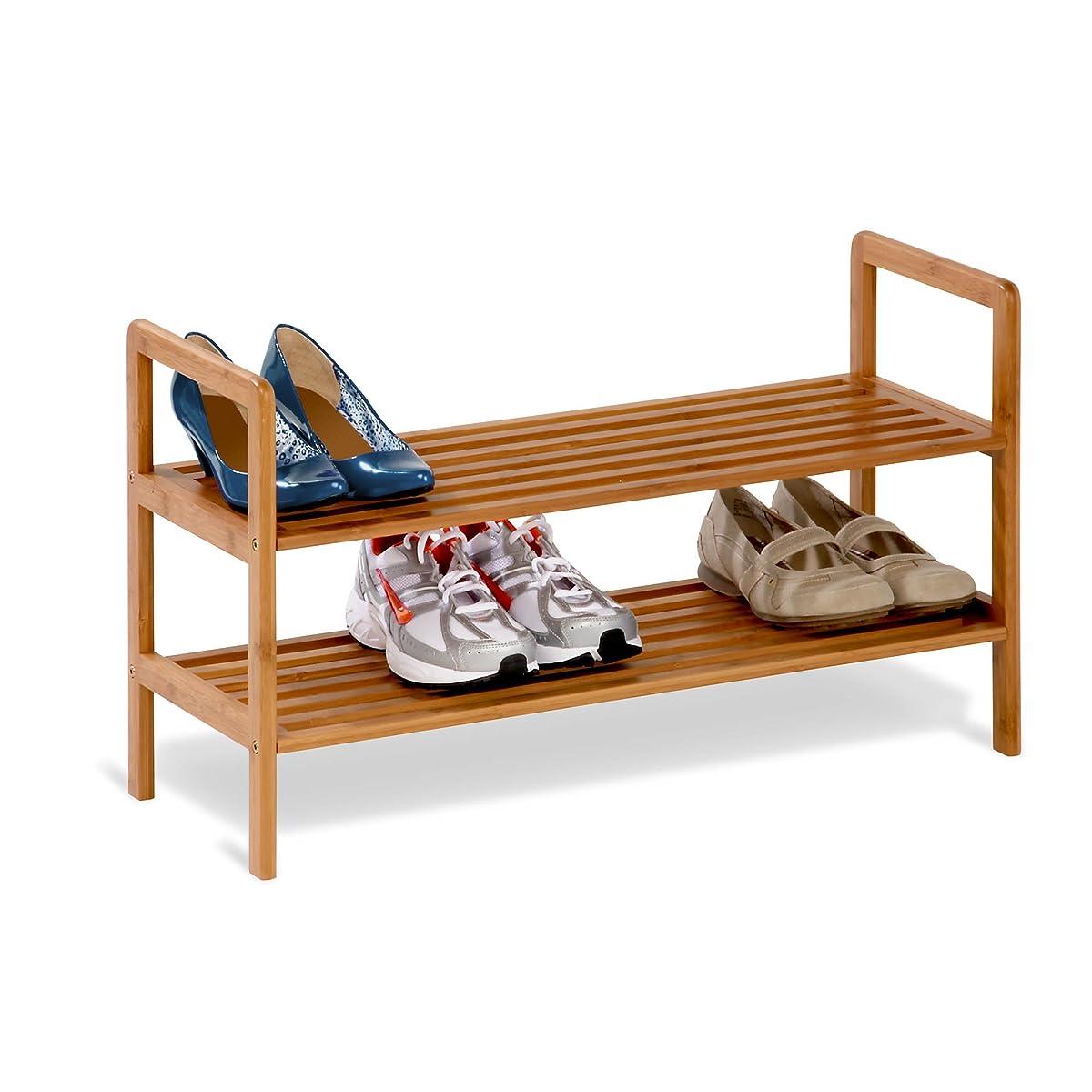 Honey-Can-Do SHO-01600 Bamboo 2-Tier Shoe Shelf