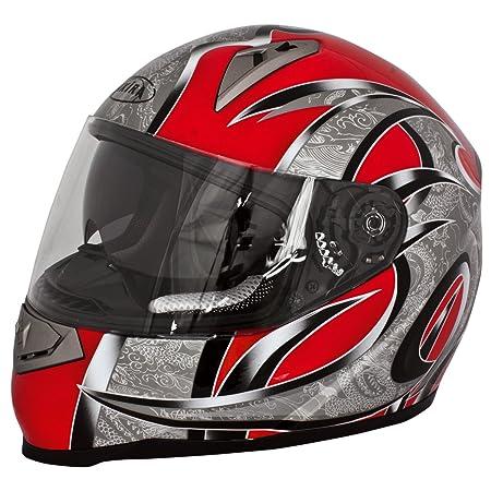 Akira 20101 Casque Moto Intégral Mito avec Ecran Solaire, Noir/Rouge, XS