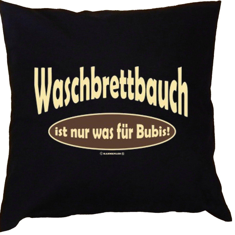 Kissen mit Innenkissen - Waschbrettbauch ist nur was für Bubis! - mit 40 x 40 cm - in schwarz : )